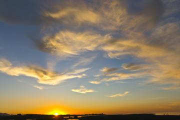 Beautiful sunset on sea