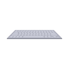 Gray computer keyboard icon in cartoon style on a white background