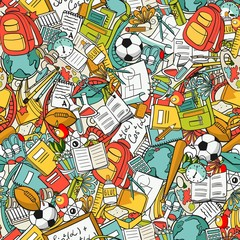 freehand school items in a pile