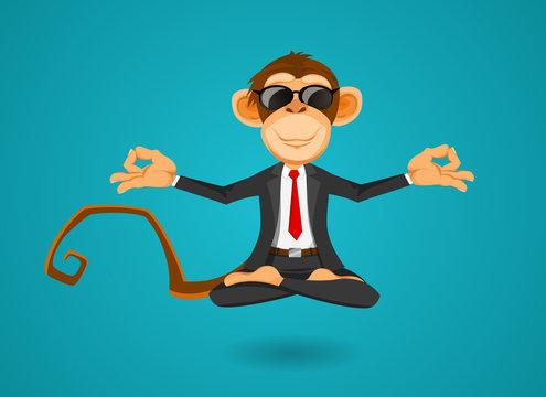 Monkey businessman in office training yoga