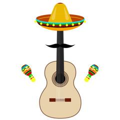 maracas, sombreros, guitar