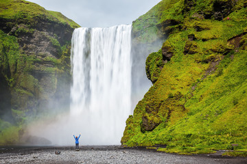 The tourist shocked beauty waterfall