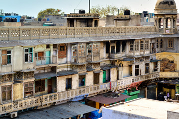 Typical Houses With Roof Life In Old Delhi, India