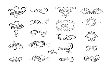 Collection of calligraphic flourishes and page rulers