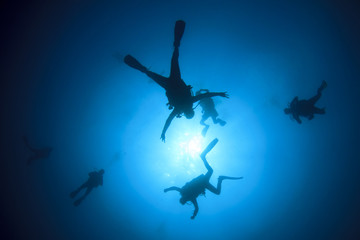 Scuba diving: group of divers silhouette with sun