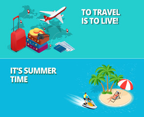 Summer time and travel concept. Two banners or flyer
