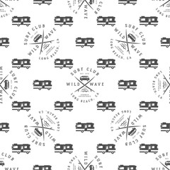 Vector Surfing Seamless pattern with surfing van. Surfer club badge. Summer wallpaper printing design with adventure symbols - combi, rv trailer. Monochrome design. Use for print or web projects