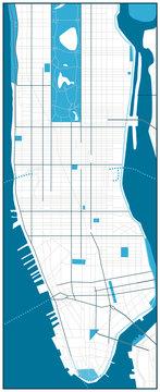 Manhattan blank road map