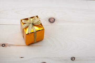 Gift boxes on a wooden floor