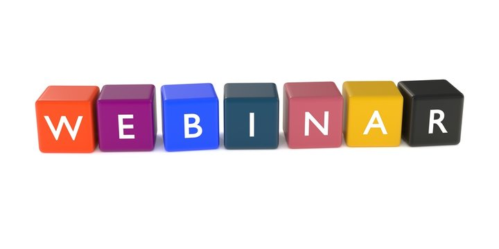 Webinar hashtag or label or header icon word from colored cubes
