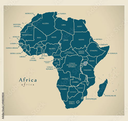 Modern Map Africa Continent With Country Labels Stock Image And - World map country labels