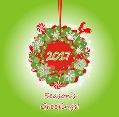 Seasonal greetings with hanging wreath