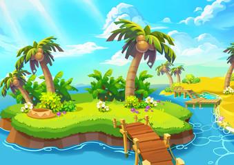 Happy Tropical Sand Beach Coast. Video Game Digital CG Artwork, Concept Illustration, Realistic Cartoon Style.