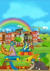 Wall Murals Rainbow Cartoon scene with children having fun at the playground - illustration for children