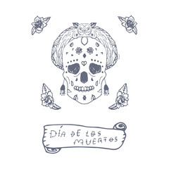 Mexican Day of the death spanish text vector decoration - letters. sugar skull, day of the dead poster