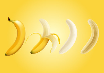 Vector illustration of half peeled banana and a piece of banana , slice banana , transparent