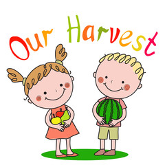 Boy and girl holding fruit in their hands
