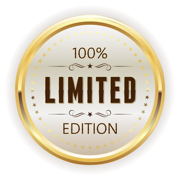 White limited edition button, badge with gold border