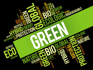 GREEN word cloud, conceptual green ecology background