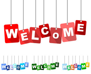 welcome, red vector welcome, flat vector welcome, background welcome