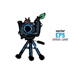 Set of photo studio equipment illustration