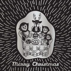 Christmas card with hand drawn animals at the festive table