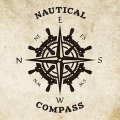 Steering wheel and compass symbol, logo.