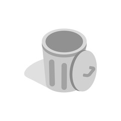 Gray trash can with open lid icon in isometric 3d style on a white background