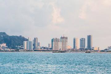 Tanjung Bungah high rise building view with mountain and sea, Penang Malaysia