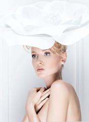Closeup beauty portrait of blonde lady.