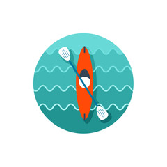 Kayak icon. Canoe vector. Summer. Vacation