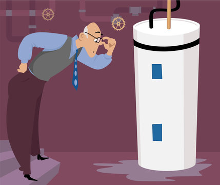 Concerned man looking at a puddle of water, leaking from a water heater, EPS 8 vector illustration