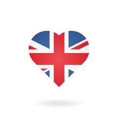 Иконка флаг Великобритании в форме сердца.
