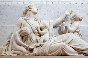 BRESCIA, ITALY - MAY 22, 2016: The detail of The Compassion statue on the tomb of bishop G. M. Nava in Duomo Nuovo by Gaetano Monti (1776-1847).
