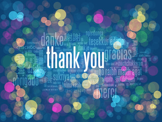 """""""THANK YOU"""" Card on multicoloured bokeh lights background"""