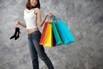 Asian woman walking shopping