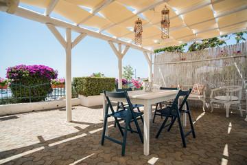 Terrazza arredata con vista mare - Buy this stock photo and explore ...