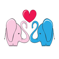 Love elephants. Vector illustration
