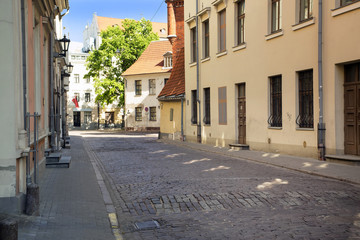 Street without people early in the morning. Europe. Riga