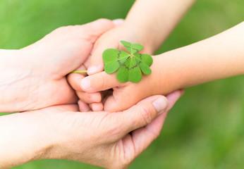 Kinderhand in Seniorenhand