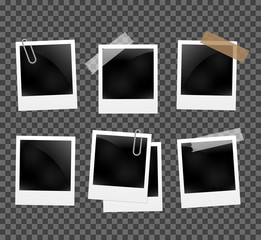 Set of photo frames on the rope with clothespin. Polaroid photo frames set on transparent
