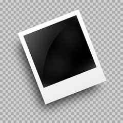 Photo frame polaroid template on transparent grid. Isolated instant photo frame