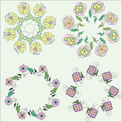 Set of hand drawn beautiful floral frames