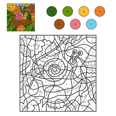 Color by number for children with a snail