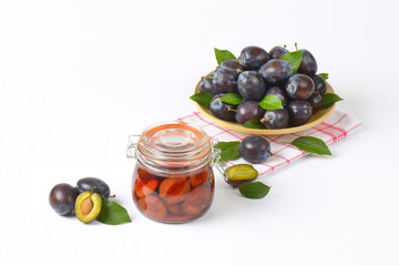 fresh and preserved plums