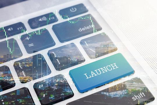 LAUNCH : Green button keyboard computer