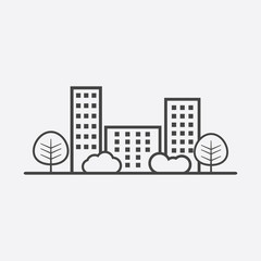 Vector city illustration in flat style. Building, tree and shrub on grey background