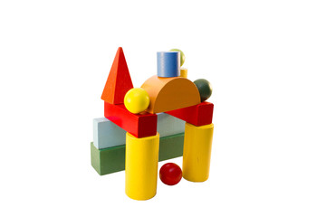 children's designer cubes on the Montessori method on a white background