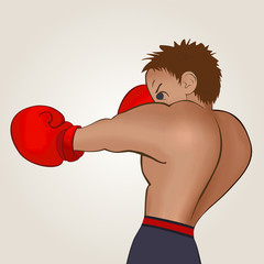 Young boxer in blue shorts trains on a light background. Colored, isolated, vector illustration for emblem, label, badge, flier, leaflet or etc. Square location.