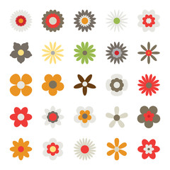 Flowers isolated on white background. Set of colorful floral icons. Flowers in flat design style. Simple flower symbols in trendy colors. Vector illustration in EPS8 format.